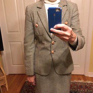 VTG Carlisle 3 Piece Brown Tweed Wool Suit size 2